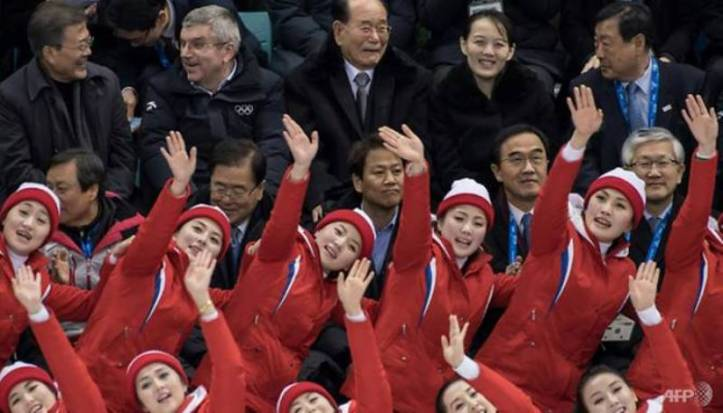 North Korean Fans with Leaders