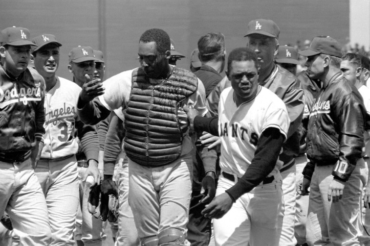 John Roseboro and Willie Mays - Aftermath of Marichal Incident